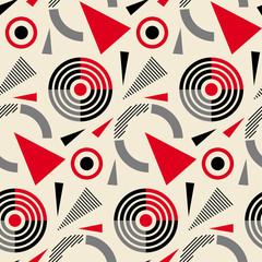 Seamless abstract pattern in constructivism soviet style. Vector vintage 20s geometric ornament