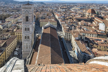 Italy, Tuscany, Florence,  Santa Maria del Fiore cathedral, Giotto's bell tower from the top Brunelleschi's dome