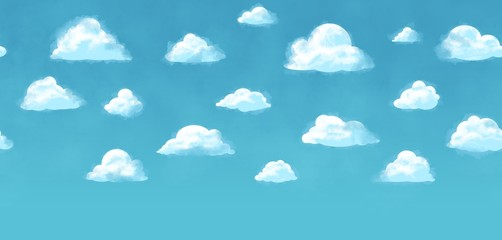 Tiled sky background - seamless texture - blue sky white clouds
