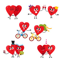 Two hearts doing funny activities together, couple in love concept, cartoon vector illustration set on white background. Funny couple of hearts spending time together, celebrating, hugging, kissing