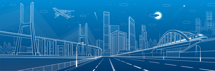 Infrastructure panorama. Large cable-stayed bridge. Train move on the bridge. Airplane fly. Night modern city on background, towers and skyscrapers, vector design art