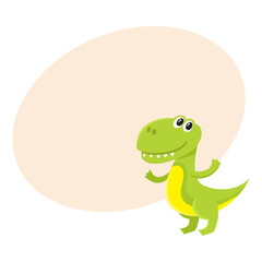 Cute and funny smiling baby tyrannosaurus, dinosaur, cartoon vector illustration with space for text. Funny, happy T-rex dinosaur, tyrannosaurus character, decoration element