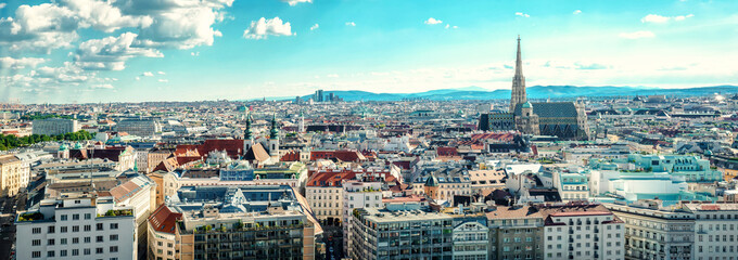 Fotorolgordijn Wenen Panoramic view of Vienna city. Austria