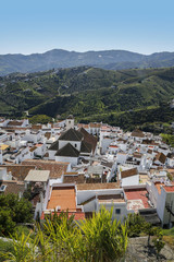panoramic view of Frigiliana- one of the beautiful spanish pueblos blancos in Andalusia, Costa del Sol, Spain