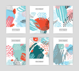creative cards with abstract pattern, hand drawn doodle textures. collection colorful background with place for text.