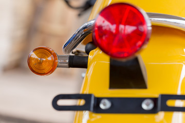 Close up taillight of red motorcycle.Set lights,brake lights and turn lights mounted on motorcycles