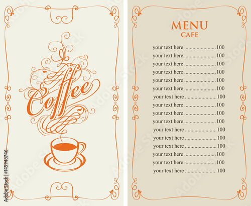 template vector menu for cafe with price list and coffee cup with ...