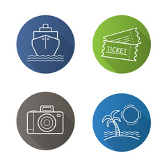 Travel and tourism. Flat linear long shadow icons set