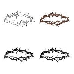 Crown of thorns icon in cartoon style isolated on white background. Religion symbol stock vector illustration.
