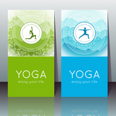 Vector yoga cards with yogi silhouette, mountain landscape, ethnic indian pattern and sample text for use as a template of banner, backdrop, poster, invitation for yoga center, studio or retreat.