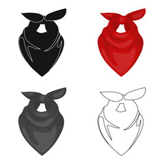 Cowboy bandana icon in cartoon style isolated on white background. Rodeo symbol stock vector illustration.