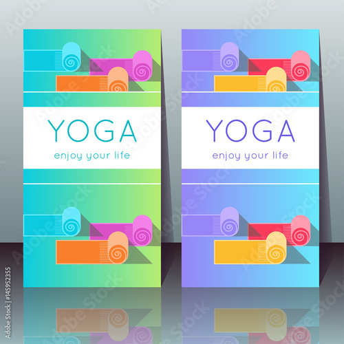 Vector Yoga Cards With Mats Sample Text On A Gradient Background For Use As