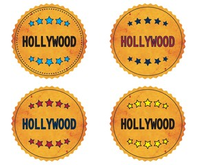 HOLLYWOOD text, on round wavy border vintage, stamp badge.