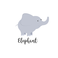 Cute cartoon baby elephant. Adorable elephant illustrations for greeting cards and baby shower invitation design.