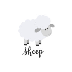 Flat color vector icon with cute animal for baby products - sheep. Cartoon style. Childrens doodle. Babyhood. Newborn. Vector illustration and element for your design, wallpaper. Zoo. Kids. Farm.