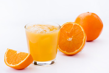 glass of orange juice, fresh on a light background
