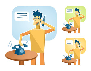 Illustration of a paper man answering the phone call. Call operator. Simple vector illustration