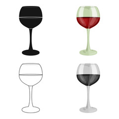 Glass of red wine icon in cartoon style isolated on white background. Wine production symbol stock vector illustration.