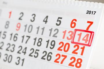 Calendar 14 May close-up