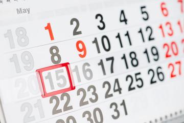 Calendar 15 May close-up, shallow dof