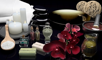 Spa still life with burning candles and flowers of an orchid.