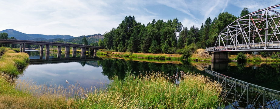 A river and a bridge in Montana.
