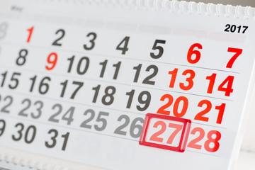 Calendar 27 May