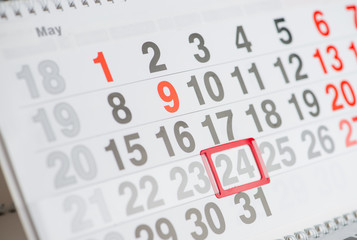 Calendar 24 May close-up, shallow dof