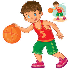 Vector illustration of little boy playing basketball. Print