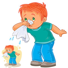 Vector illustration of a sick little boy blowing his nose in a handkerchief, respiratory allergy. Print