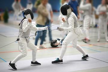 Junior Girls at a foil fencing tournament