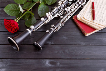 Musical background, poster - oboe, clarinet, rose, notes, symphony orchestra. Musical still life.