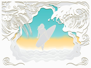 Paper art carving of ocean wave, Dolphin and beach.The girl walks along the sea sandy beach with a surfboard.Summer vacation background.