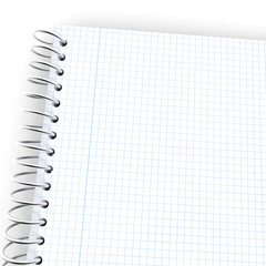Wired graph paper notebook, blue margin close-up