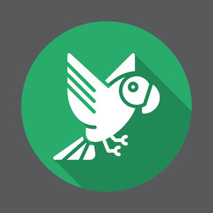 Parrot flat icon. Round colorful button, circular vector sign with long shadow effect. Flat style design