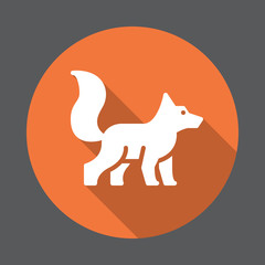 Fox flat icon. Round colorful button, circular vector sign with long shadow effect. Flat style design
