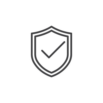 Shield with check mark, protection line icon, outline vector sign, linear style pictogram isolated on white. Symbol, logo illustration. Editable stroke. Pixel perfect