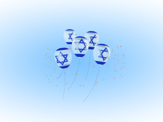 Flag of Israel on air balloons. Ribbon twisted under the balloon. 3D illustration for Independence Day.