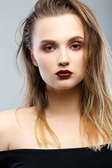 Beauty Woman Portrait. Professional Makeup for Brunette