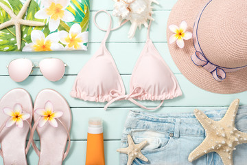 beach accessories on the wooden board