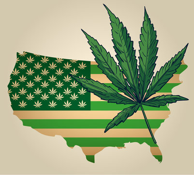 Usa map as green flag with cannabis leaf. Vector image.