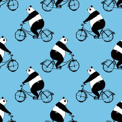 Seamless pattern with panda bear on bicycle. black and white image on blue background