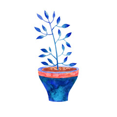 Abstract watercolor flower in a pot illustration isolated on white background. Cartoon hand drawing image. Children's style,holiday,birthday,vintage,greeting cards,artwork for textiles.