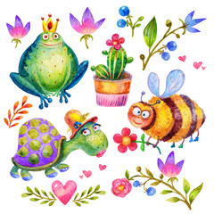 Cartoon Watercolor flower set,bee with flower,Frog with a crown,Turtle,Heart, branches,leaves,lily,cactus,berries illustration isolated on white background.Perfect for childrens book,shop,print,design