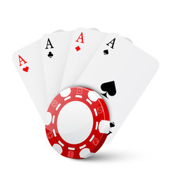 3d Casino chip with four aces, vector illustration, isolated