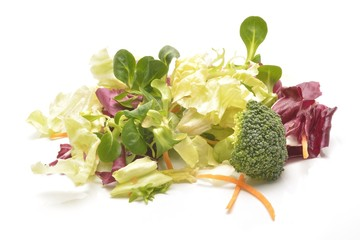 Wall Mural - Salad mix with rucola, frisee, radicchio and lamb's lettuce. Isolated on white background.