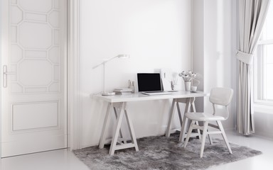 White modern room with  laptop computer on a desk,  home office workspace
