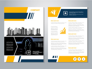 Vector Modern Brochure Abstract Flyer With Background Of Buildings