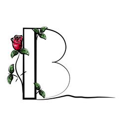 Vector capital initial letter B with red rose. Decorative font with flower and green leaves for monograms and logos.