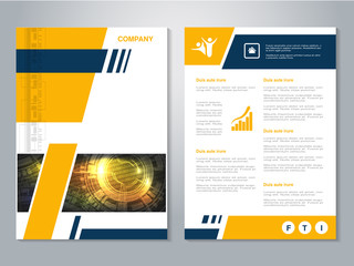 Vector modern brochure with blue yellow design, abstract flyer with technology background. Layout template. Poster, Magazine cover.